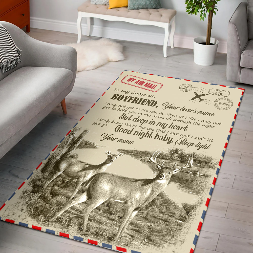 Personalized Lovely To My Boyfriend You Are The One That I Love Pattern 2 Vintage Area Rug Anti-Skid Floor Carpet For Living Room Dinning Room Bedroom Office