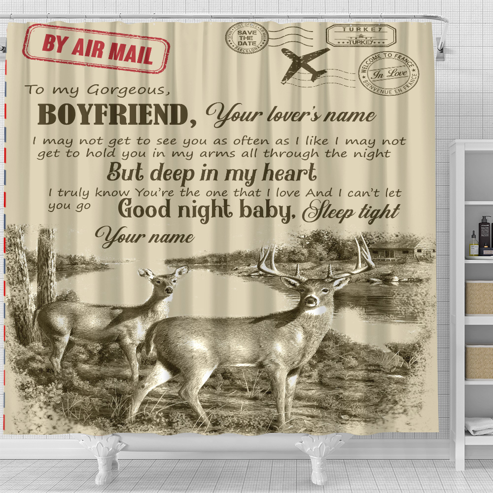 Personalized Lovely Shower Curtain To My Boyfriend You Are The One That I Love Pattern 2 Set 12 Hooks Decorative Bath Modern Bathroom Accessories Machine Washable