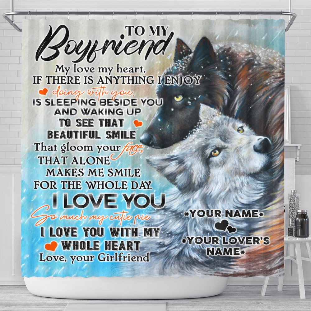 Personalized Lovely Shower Curtain To My Boyfriend I Love You So Much My Cutie Pie Pattern 1 Set 12 Hooks Decorative Bath Modern Bathroom Accessories Machine Washable