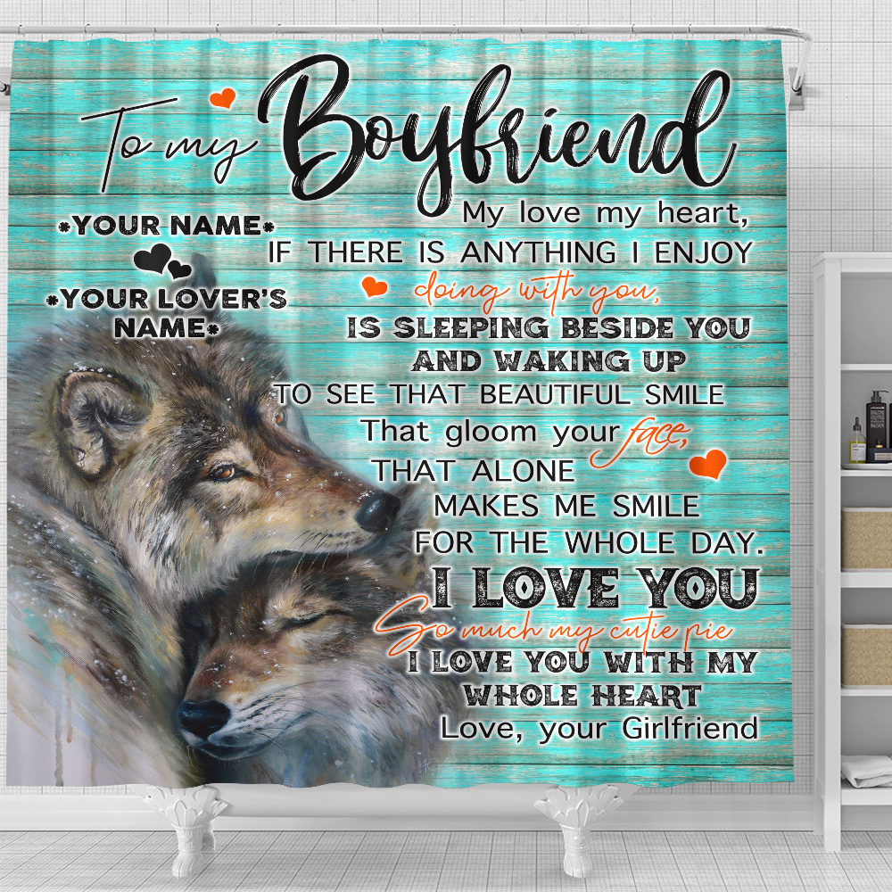 Personalized Lovely Shower Curtain To My Boyfriend I Love You So Much My Cutie Pie Pattern 2 Set 12 Hooks Decorative Bath Modern Bathroom Accessories Machine Washable