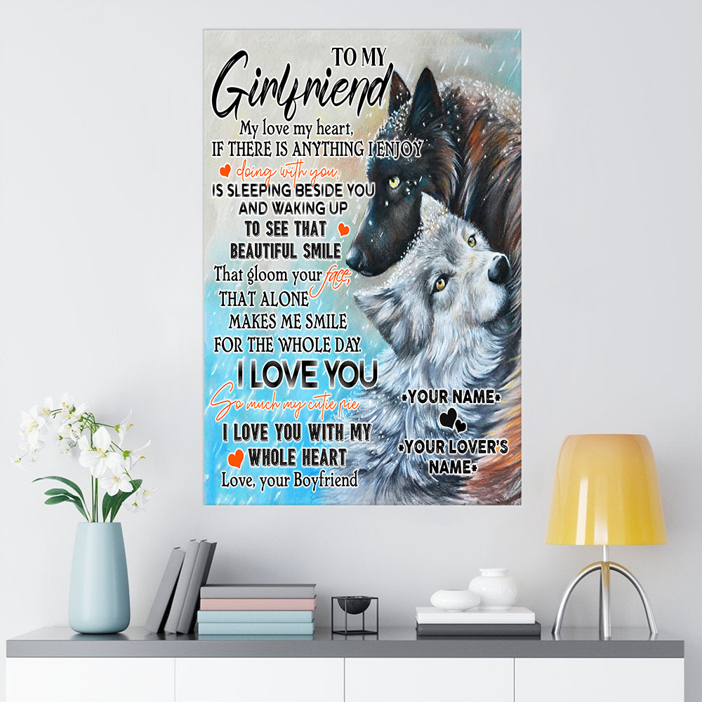 Personalized Lovely Wall Art Poster To My Girlfriend I Love You So Much My Cutie Pie Pattern 1 Prints Decoracion Wall Art Picture Living Room Wall