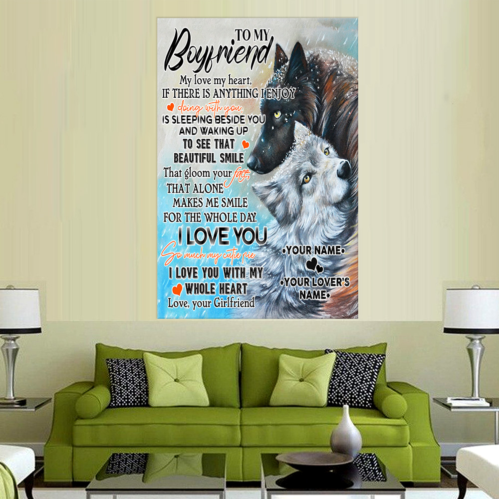 Personalized Lovely Wall Art Poster To My Boyfriend I Love You So Much My Cutie Pie Pattern 1 Prints Decoracion Wall Art Picture Living Room Wall
