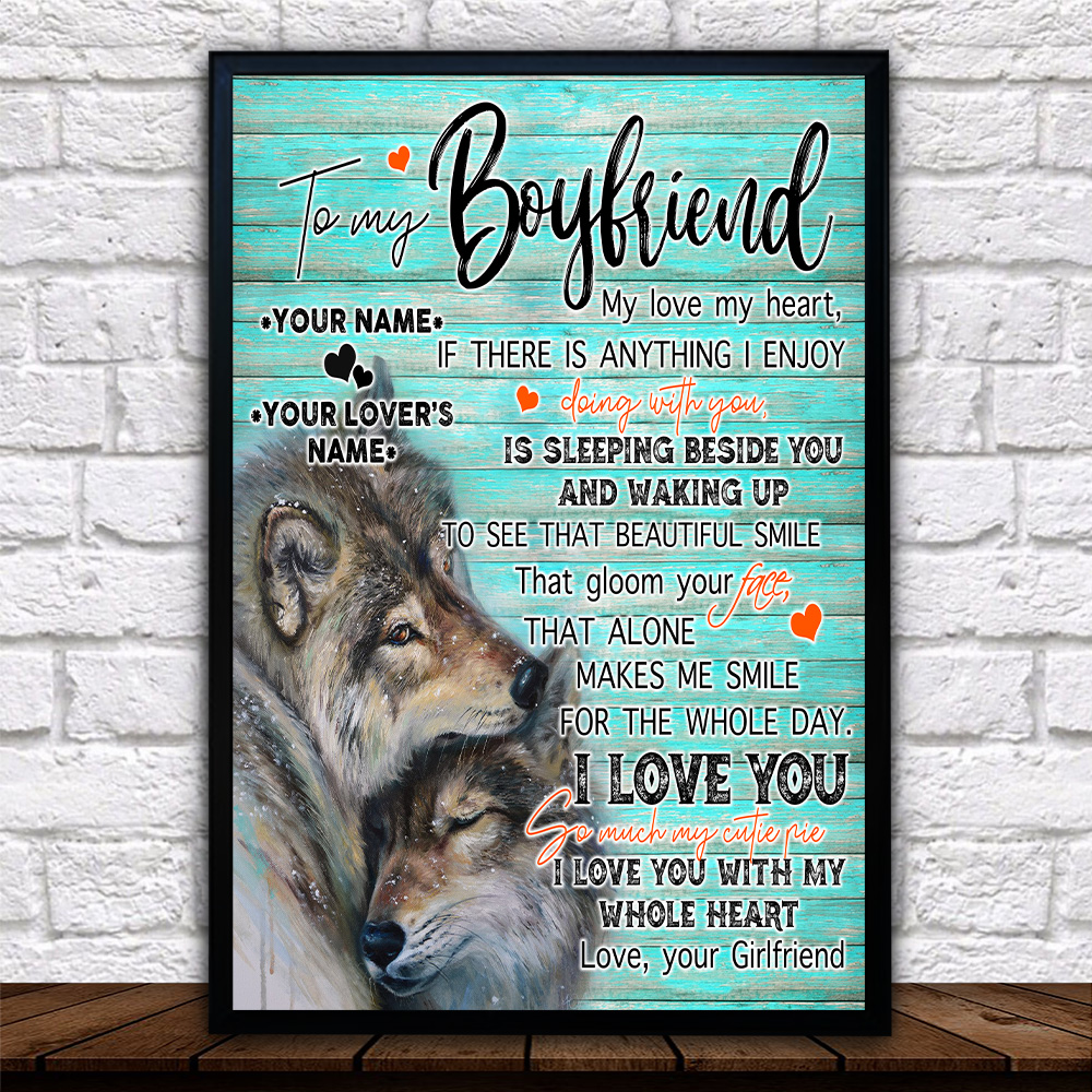 Personalized Lovely Wall Art Poster To My Boyfriend I Love You So Much My Cutie Pie Pattern 2 Prints Decoracion Wall Art Picture Living Room Wall