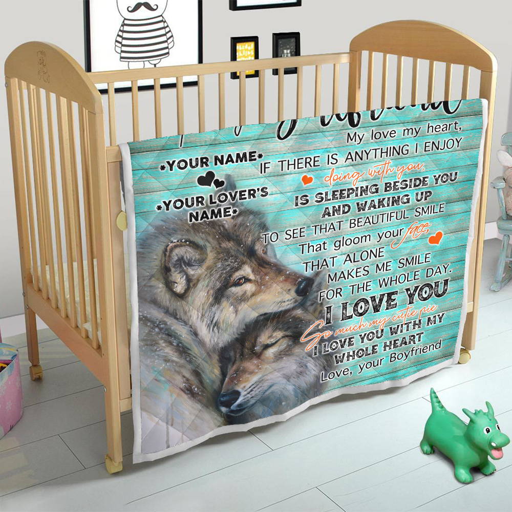 Personalized Lovely Quilt Throw Blanket To My Girlfriend I Love You So Much My Cutie Pie Pattern 2 Lightweight Super Soft Cozy For Decorative Couch Sofa Bed