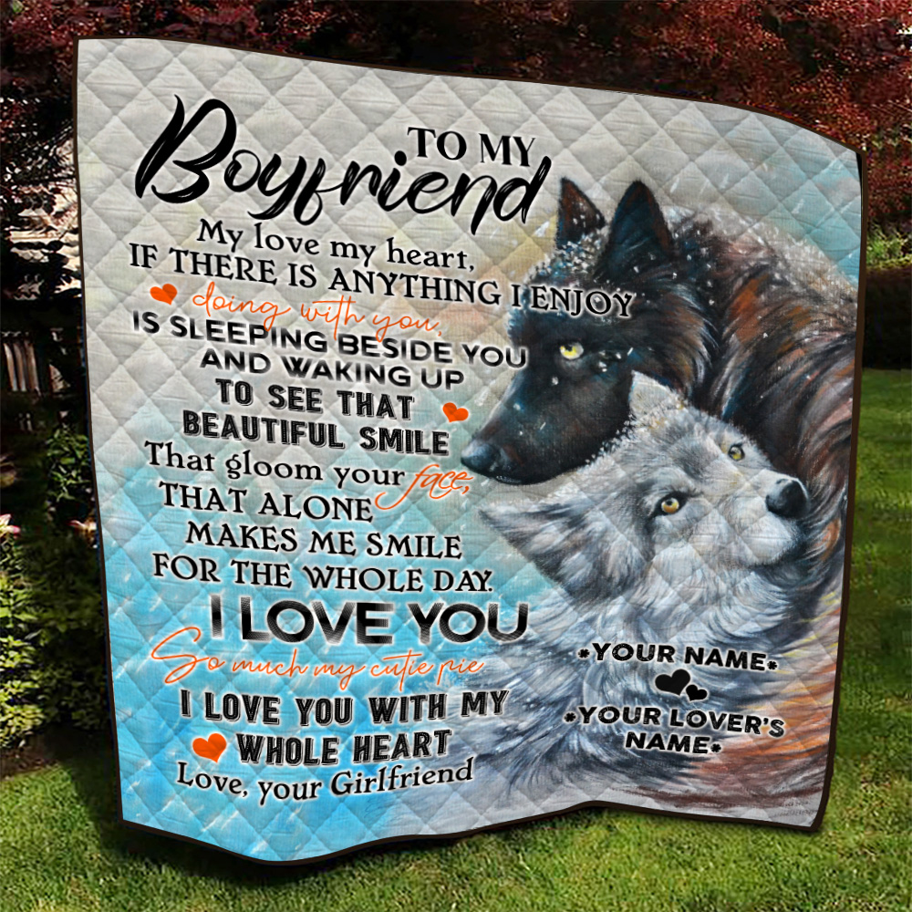 Personalized Lovely Quilt Throw Blanket To My Boyfriend I Love You So Much My Cutie Pie Pattern 1 Lightweight Super Soft Cozy For Decorative Couch Sofa Bed