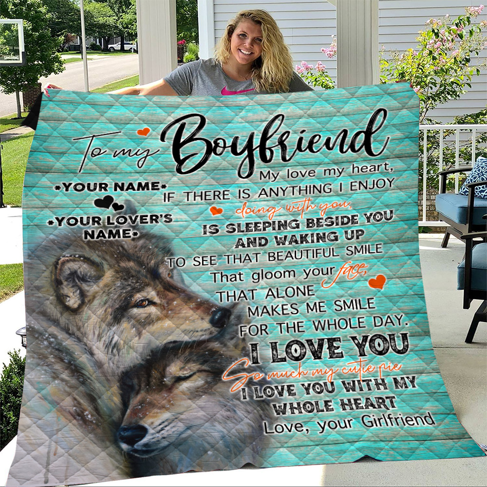 Personalized Lovely Quilt Throw Blanket To My Boyfriend I Love You So Much My Cutie Pie Pattern 2 Lightweight Super Soft Cozy For Decorative Couch Sofa Bed