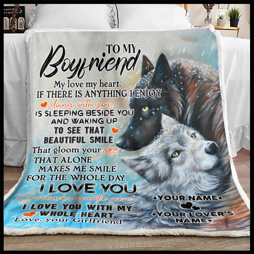 Personalized Lovely Fleece Throw Blanket To My Boyfriend I Love You So Much My Cutie Pie Pattern 1 Lightweight Super Soft Cozy For Decorative Couch Sofa Bed