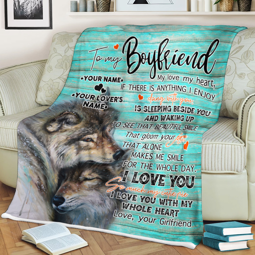 Personalized Lovely Fleece Throw Blanket To My Boyfriend I Love You So Much My Cutie Pie Pattern 2 Lightweight Super Soft Cozy For Decorative Couch Sofa Bed