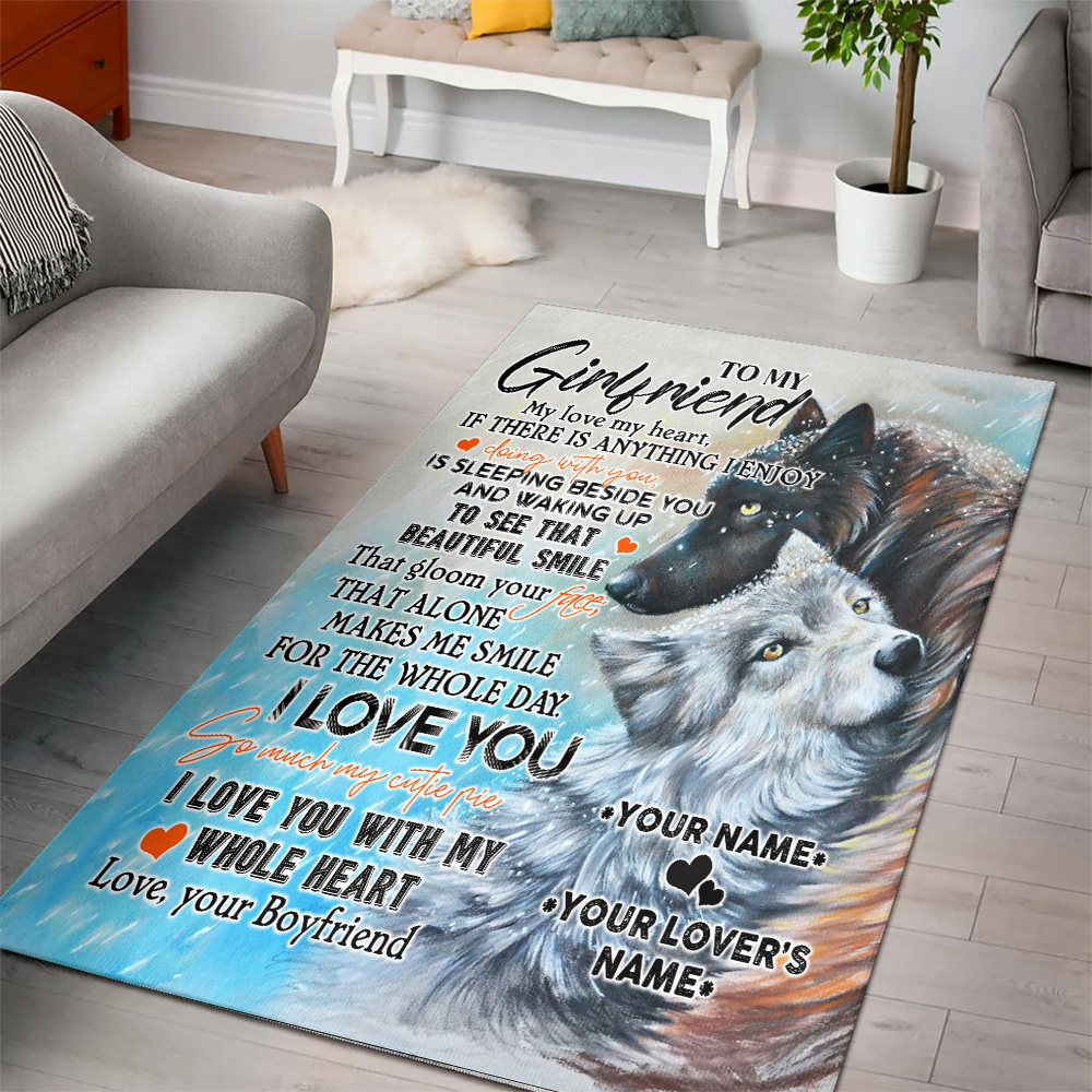 Personalized Lovely To My Girlfriend I Love You So Much My Cutie Pie Pattern 1 Vintage Area Rug Anti-Skid Floor Carpet For Living Room Dinning Room Bedroom Office