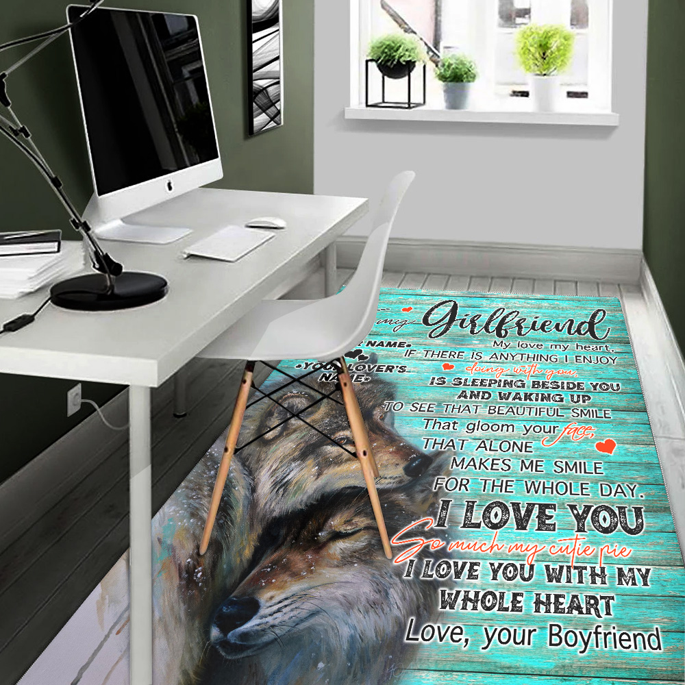 Personalized Lovely To My Girlfriend I Love You So Much My Cutie Pie Pattern 2 Vintage Area Rug Anti-Skid Floor Carpet For Living Room Dinning Room Bedroom Office