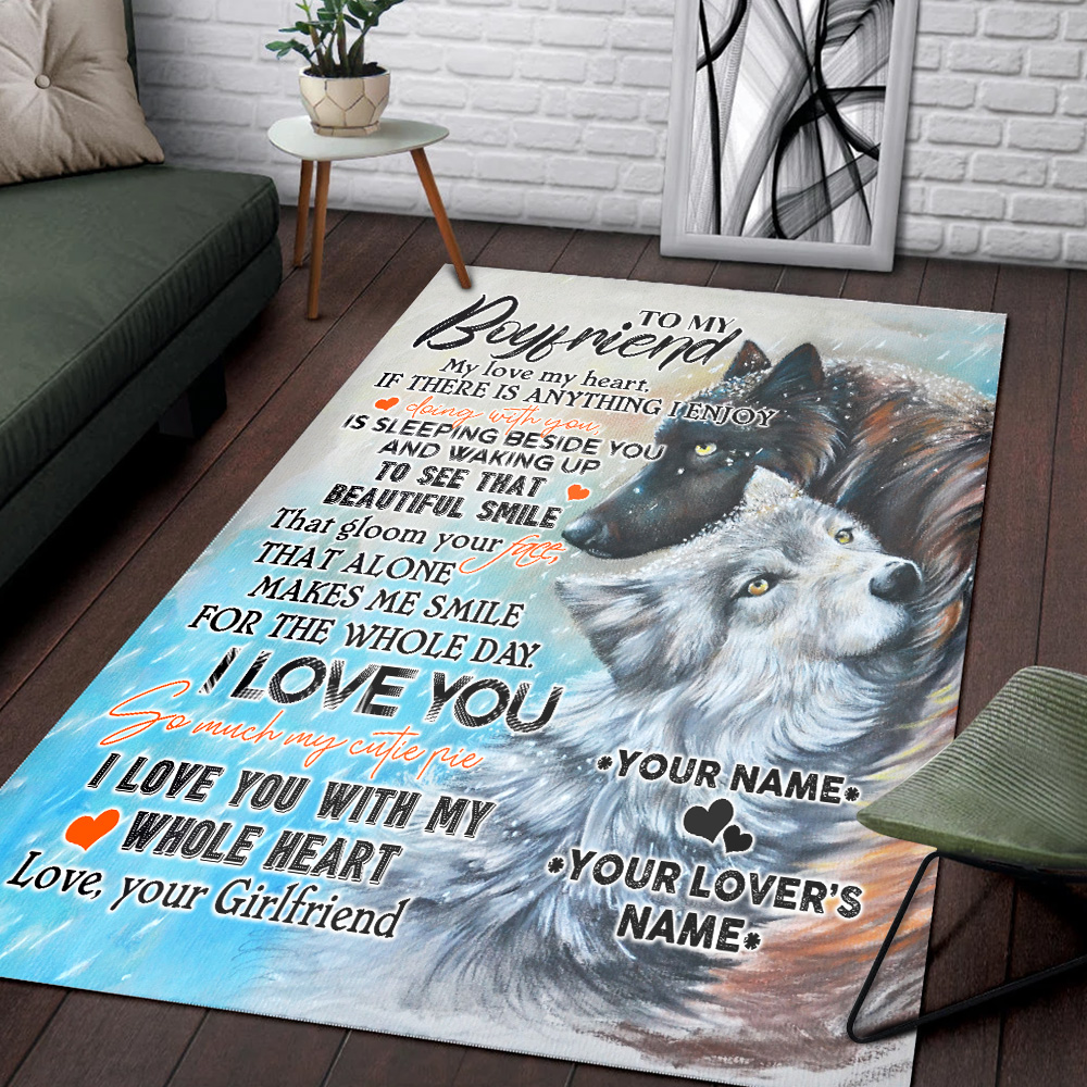 Personalized Lovely To My Boyfriend I Love You So Much My Cutie Pie Pattern 1 Vintage Area Rug Anti-Skid Floor Carpet For Living Room Dinning Room Bedroom Office