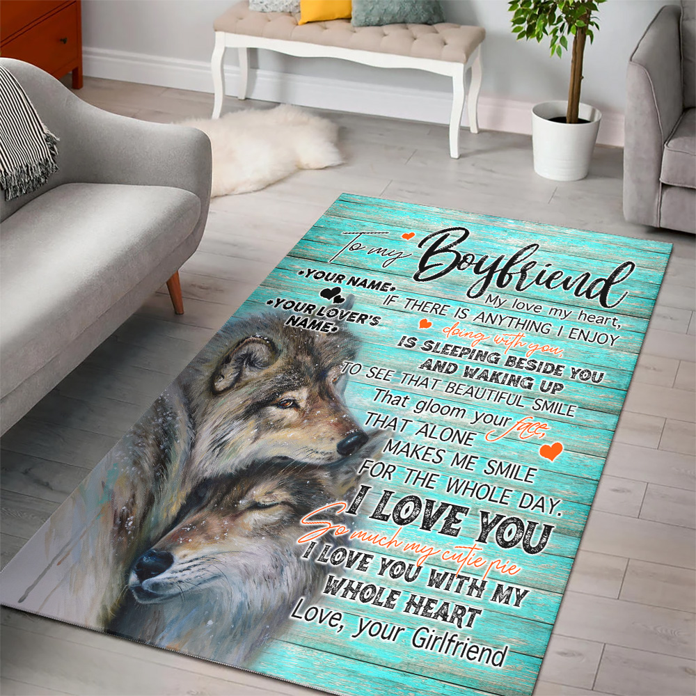 Personalized Lovely To My Boyfriend I Love You So Much My Cutie Pie Pattern 2 Vintage Area Rug Anti-Skid Floor Carpet For Living Room Dinning Room Bedroom Office