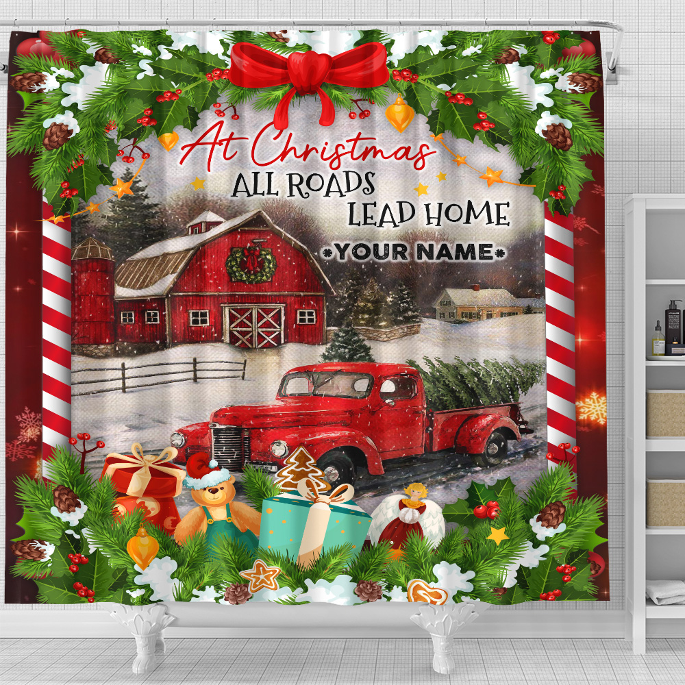 Personalized Shower Curtain 71 X 71 Inch At Christmas All Roads Lead Home Pattern 1 Set 12 Hooks Decorative Bath Modern Bathroom Accessories Machine Washable