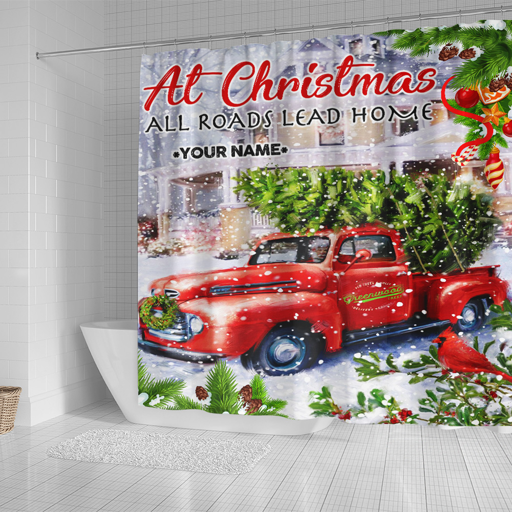 Personalized Shower Curtain 71 X 71 Inch At Christmas All Roads Lead Home Pattern 2 Set 12 Hooks Decorative Bath Modern Bathroom Accessories Machine Washable
