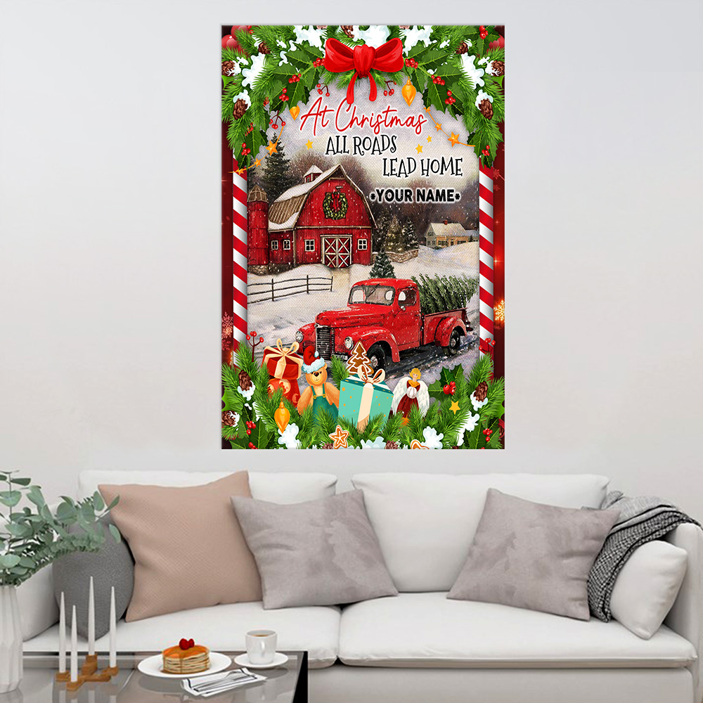 Personalized Wall Art Poster Canvas 1 Panel At Christmas All Roads Lead Home Pattern 1 Great Idea For Living Home Decorations Birthday Christmas Aniversary