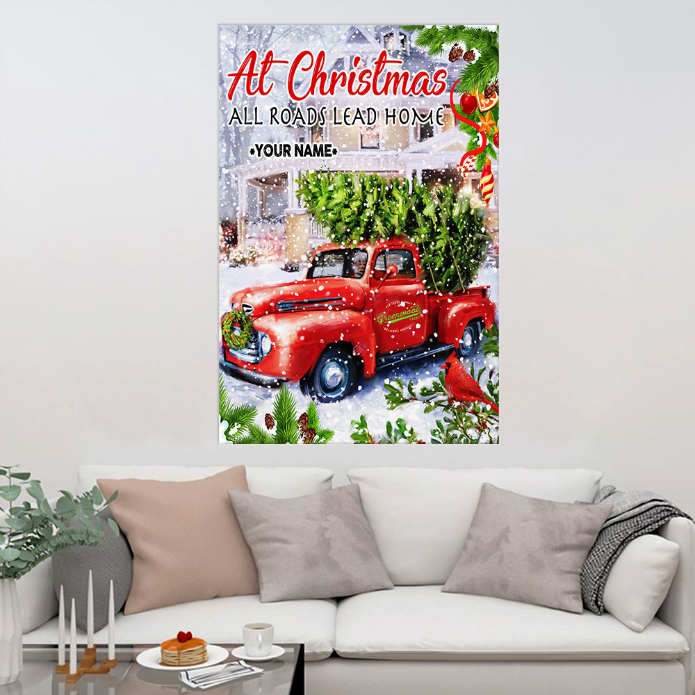 Personalized Wall Art Poster Canvas 1 Panel At Christmas All Roads Lead Home Pattern 2 Great Idea For Living Home Decorations Birthday Christmas Aniversary