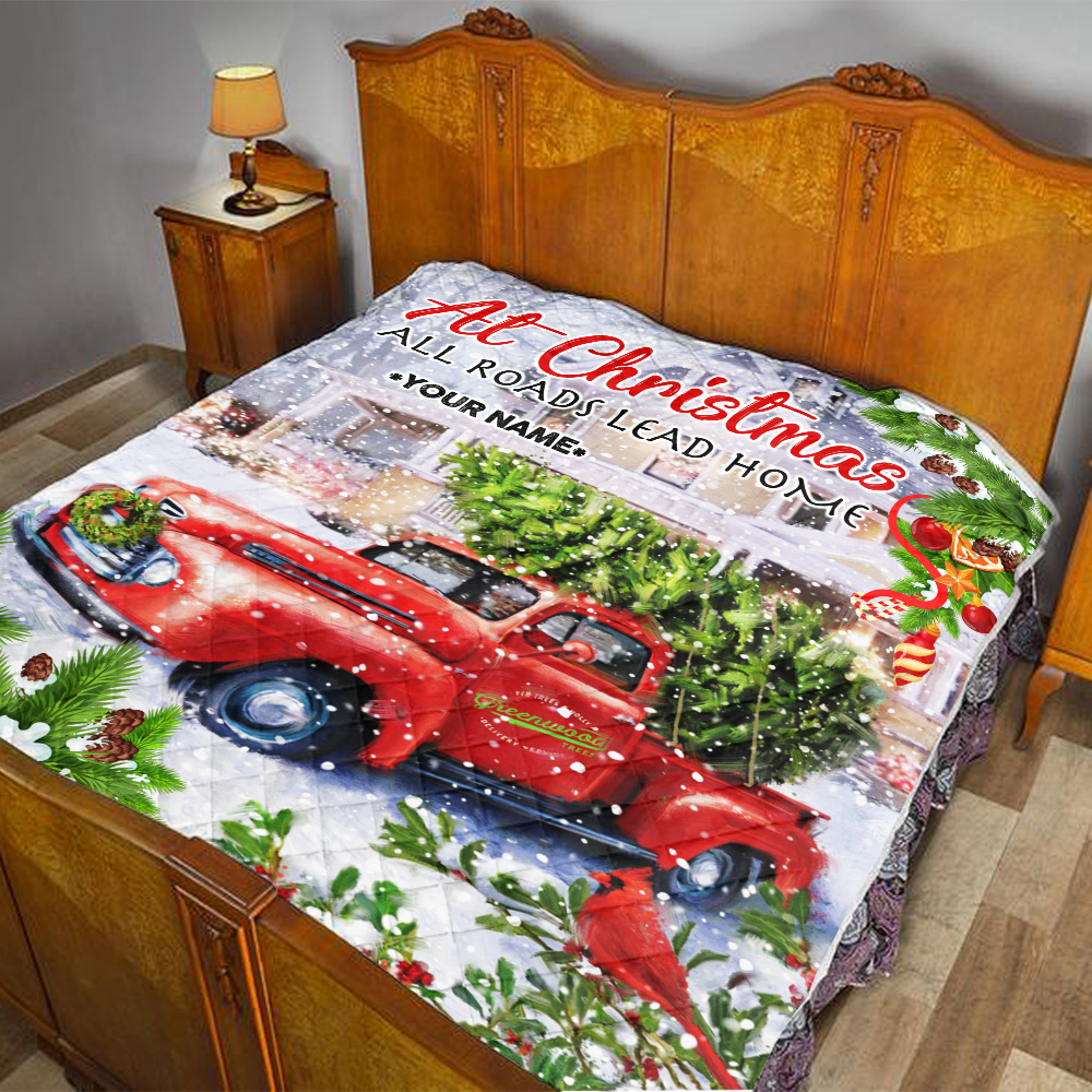 Personalized Quilt Throw Blanket At Christmas All Roads Lead Home Pattern 2 Lightweight Super Soft Cozy For Decorative Couch Sofa Bed