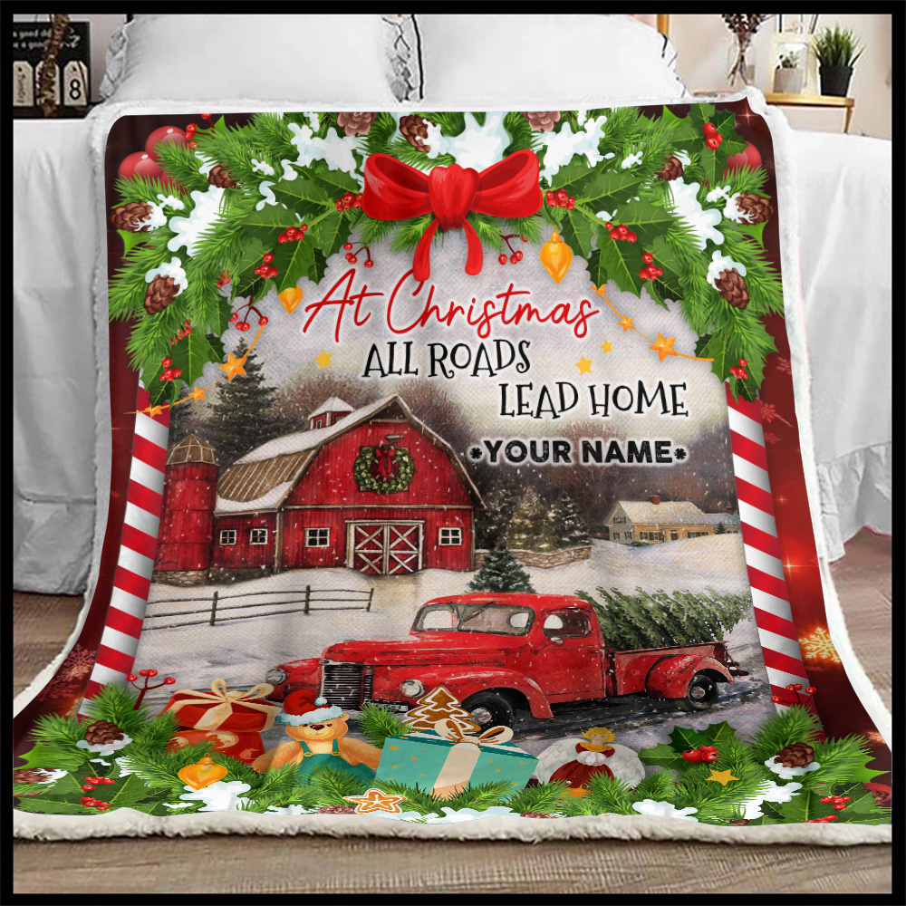 Personalized Fleece Throw Blanket At Christmas All Roads Lead Home Pattern 1 Lightweight Super Soft Cozy For Decorative Couch Sofa Bed