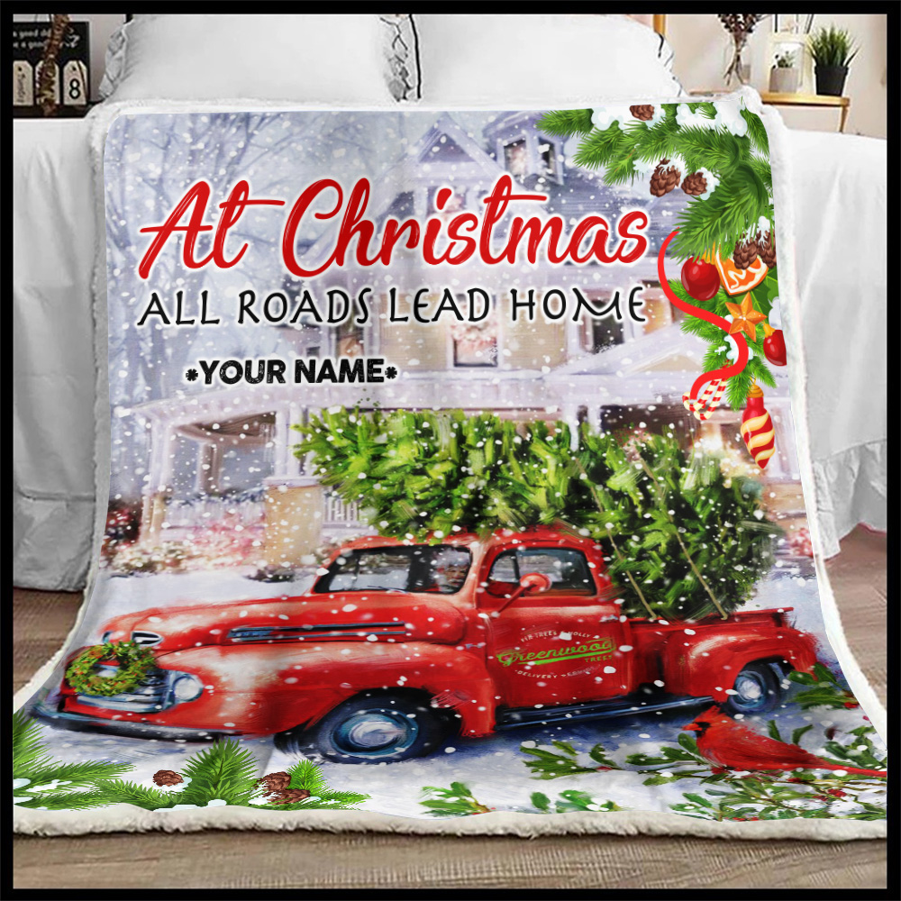 Personalized Fleece Throw Blanket At Christmas All Roads Lead Home Pattern 2 Lightweight Super Soft Cozy For Decorative Couch Sofa Bed