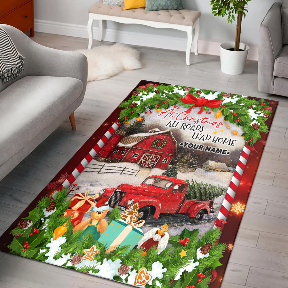 Personalized Floor Area Rugs At Christmas All Roads Lead Home Pattern 1 Indoor Home Decor Carpets Suitable For Children Living Room Bedroom Birthday Christmas Aniversary
