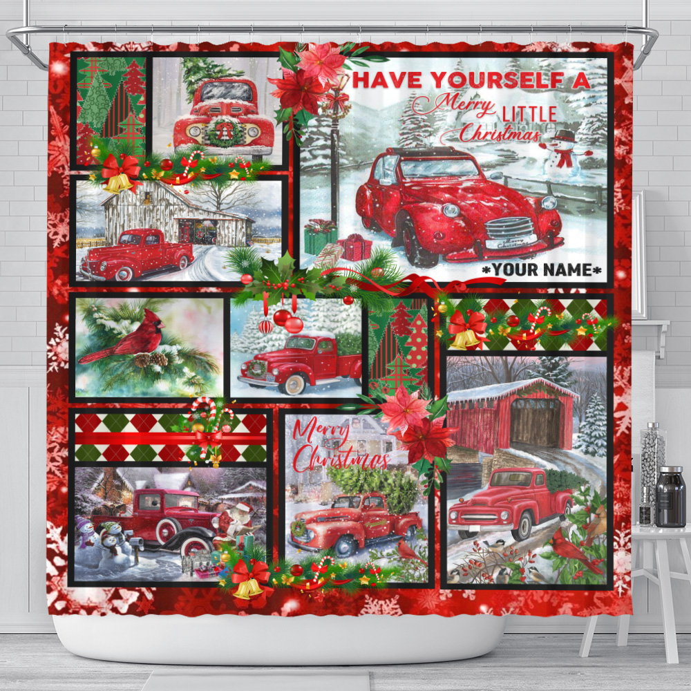 Personalized Shower Curtain 71 X 71 Inch Have Yourself A Merry Little Christmas Pattern 1 Set 12 Hooks Decorative Bath Modern Bathroom Accessories Machine Washable
