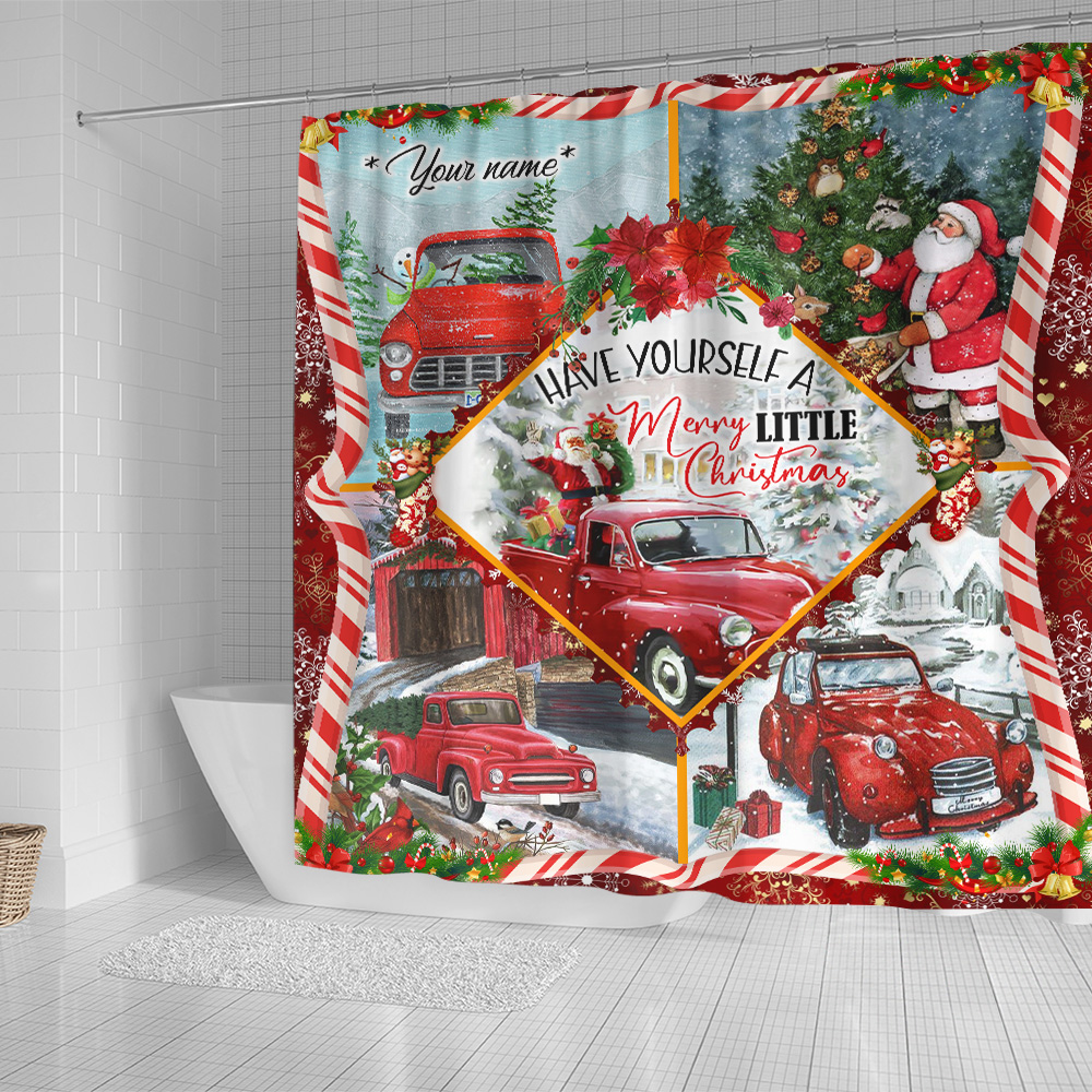 Personalized Shower Curtain 71 X 71 Inch Have Yourself A Merry Little Christmas  Pattern 2 Set 12 Hooks Decorative Bath Modern Bathroom Accessories Machine Washable