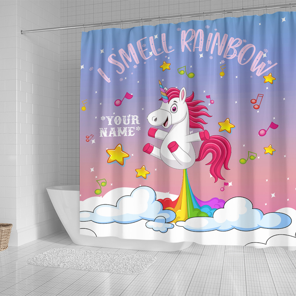 Personalized Shower Curtain 71 X 71 Inch Unicorn I Smell Rainbow Pattern 2 Set 12 Hooks Decorative Bath Modern Bathroom Accessories Machine Washable