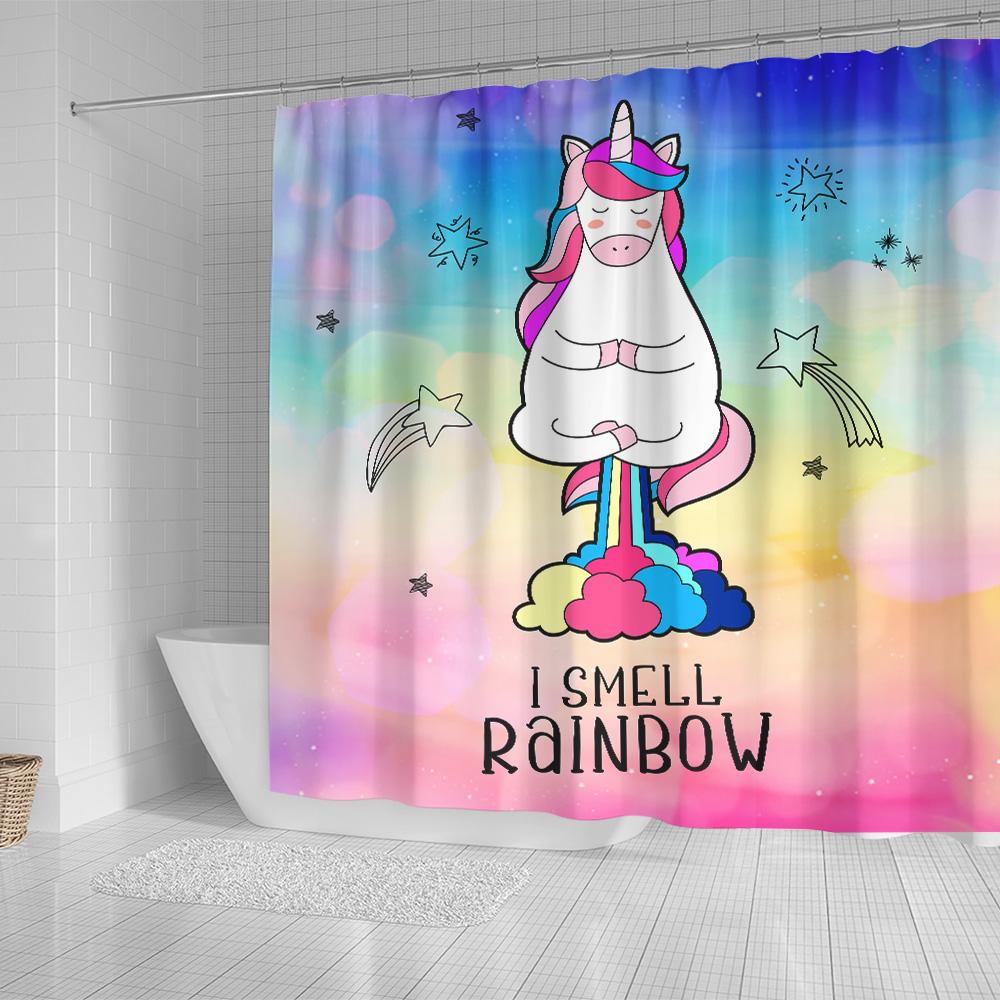 Personalized Shower Curtain 71 X 71 Inch Unicorn I Smell Rainbow Pattern 1 Set 12 Hooks Decorative Bath Modern Bathroom Accessories Machine Washable