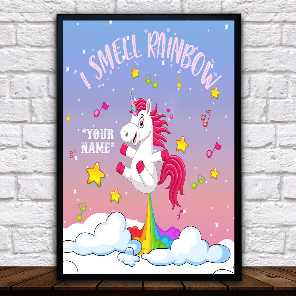 Personalized Wall Art Poster Canvas 1 Panel Unicorn I Smell Rainbow Pattern 2 Great Idea For Living Home Decorations Birthday Christmas Aniversary