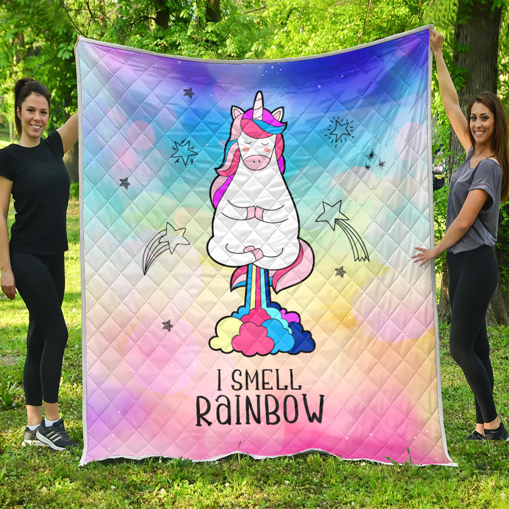 Personalized Quilt Throw Blanket Unicorn I Smell Rainbow Pattern 2 Lightweight Super Soft Cozy For Decorative Couch Sofa Bed