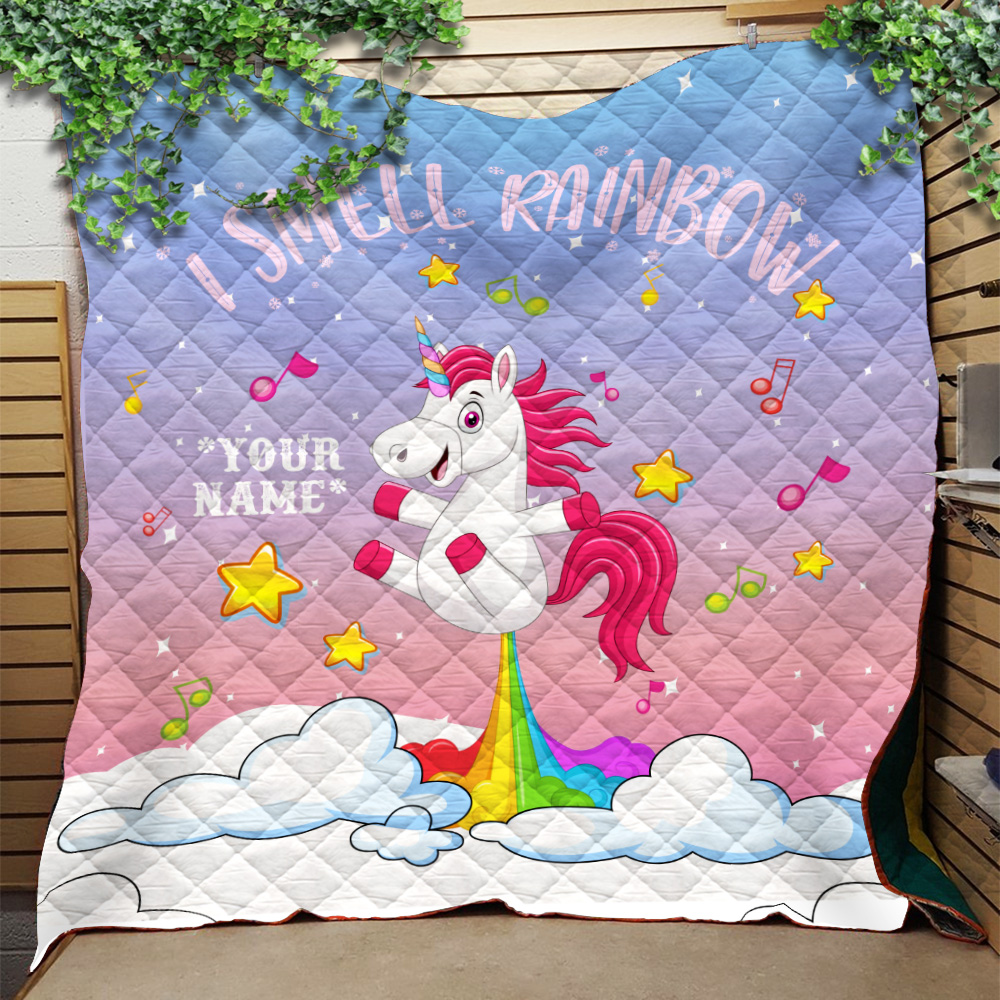 Personalized Quilt Throw Blanket Unicorn I Smell Rainbow Pattern 1 Lightweight Super Soft Cozy For Decorative Couch Sofa Bed