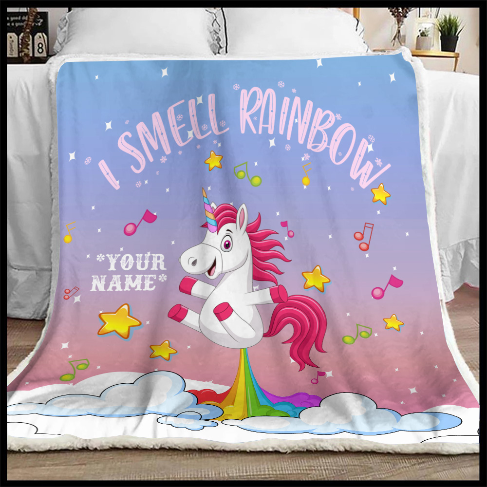 Personalized Fleece Throw Blanket Unicorn I Smell Rainbow Pattern 2 Lightweight Super Soft Cozy For Decorative Couch Sofa Bed