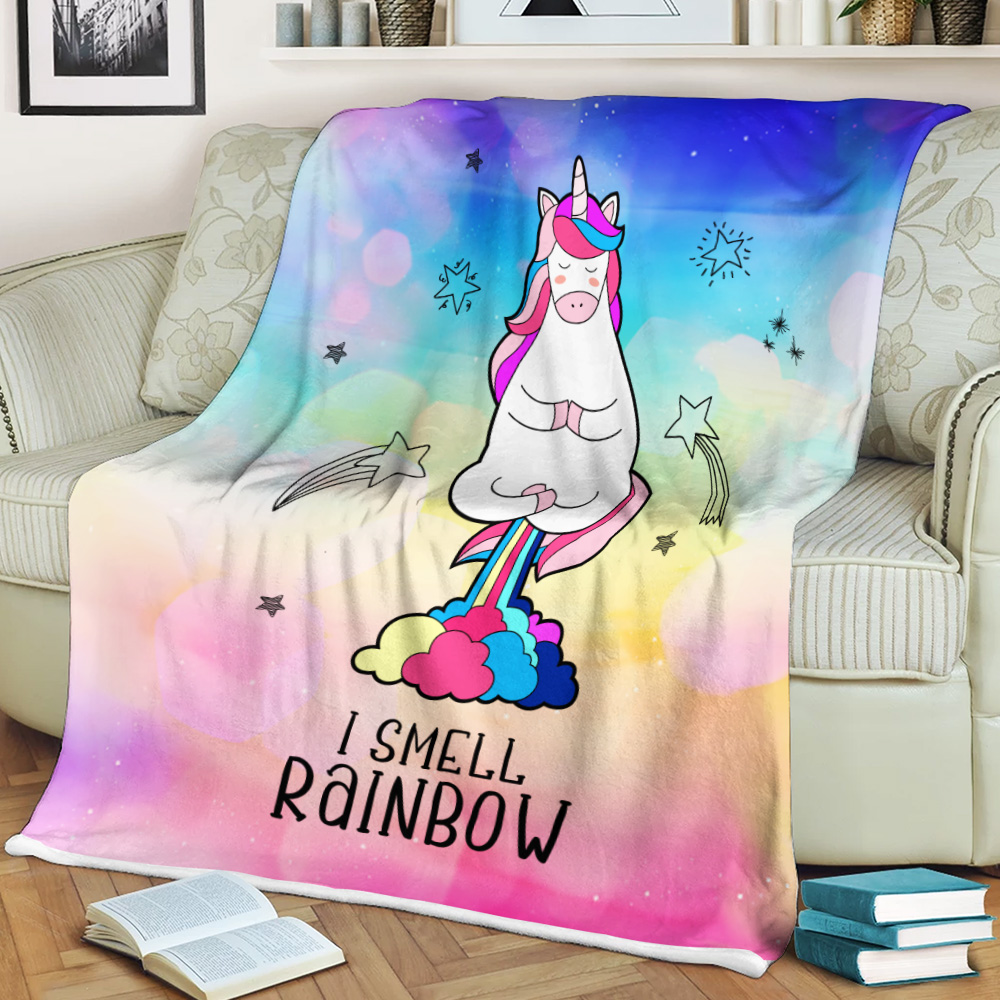 Personalized Fleece Throw Blanket Unicorn I Smell Rainbow Pattern 1 Lightweight Super Soft Cozy For Decorative Couch Sofa Bed