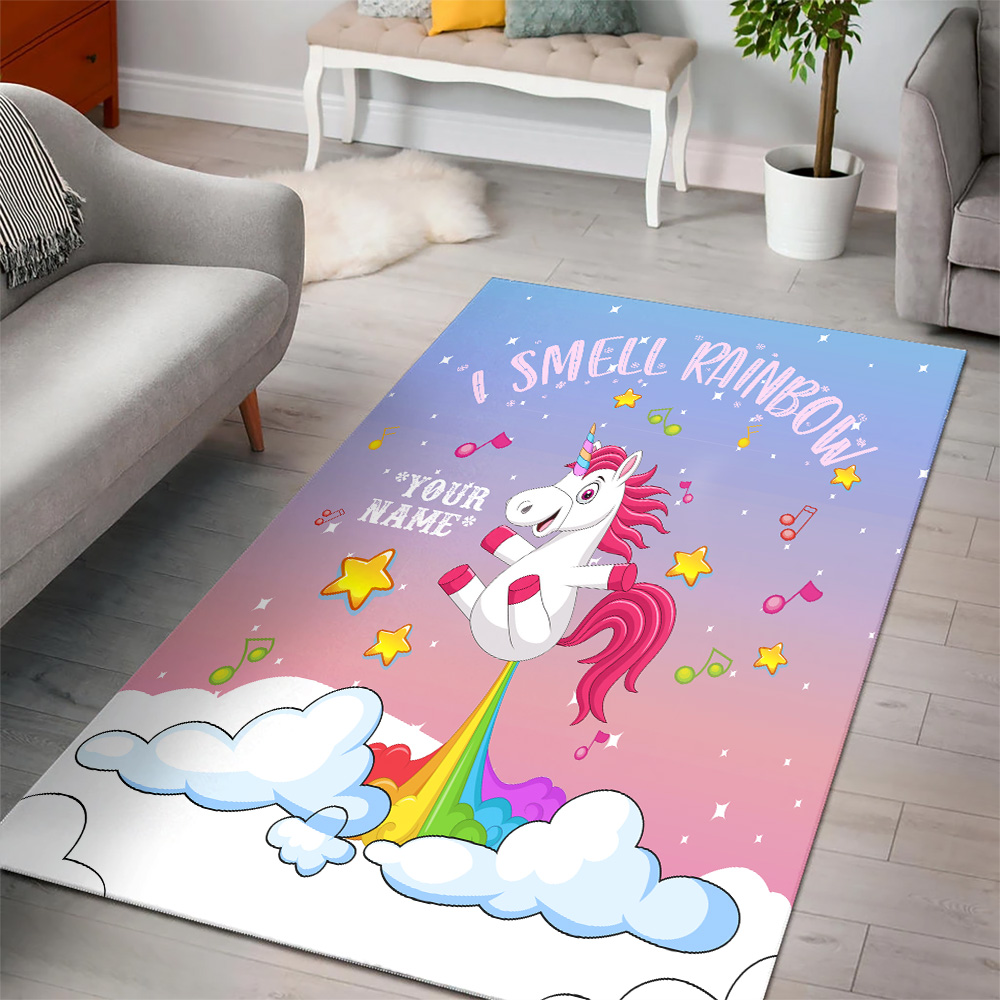 Personalized Floor Area Rugs Unicorn I Smell Rainbow Pattern 2 Indoor Home Decor Carpets Suitable For Children Living Room Bedroom Birthday Christmas Aniversary