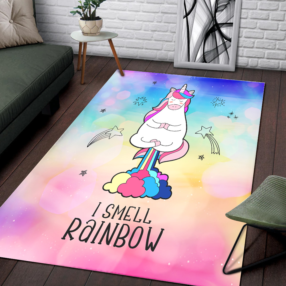 Personalized Floor Area Rugs Unicorn I Smell Rainbow Pattern 1 Indoor Home Decor Carpets Suitable For Children Living Room Bedroom Birthday Christmas Aniversary