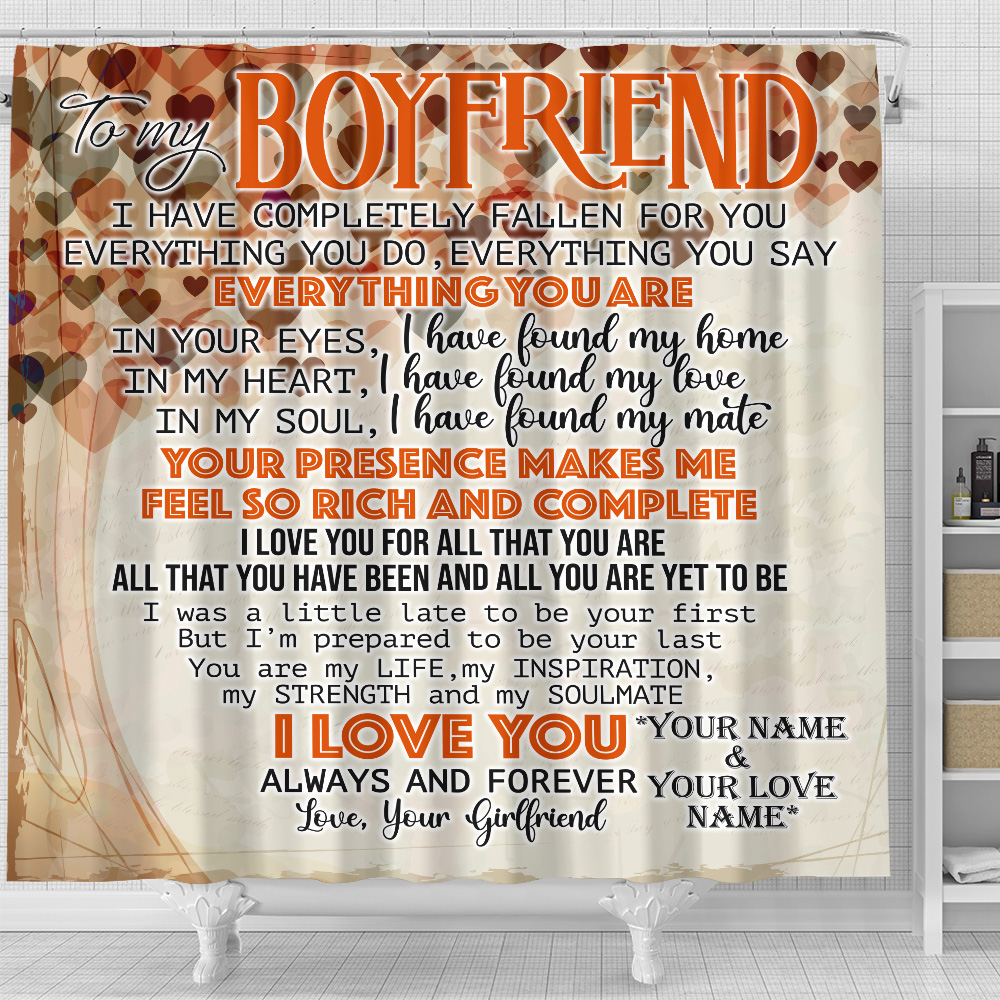 Personalized Lovely Shower Curtain To My Boyfriend I Love You For All Pattern 2 Set 12 Hooks Decorative Bath Modern Bathroom Accessories Machine Washable