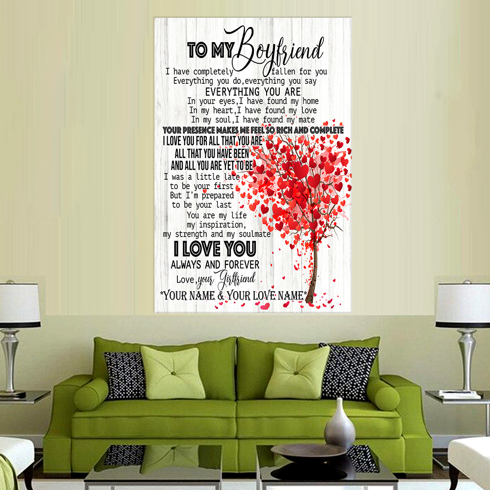 Personalized Lovely Wall Art Poster To My Boyfriend I Love You For All Pattern 1 Prints Decoracion Wall Art Picture Living Room Wall