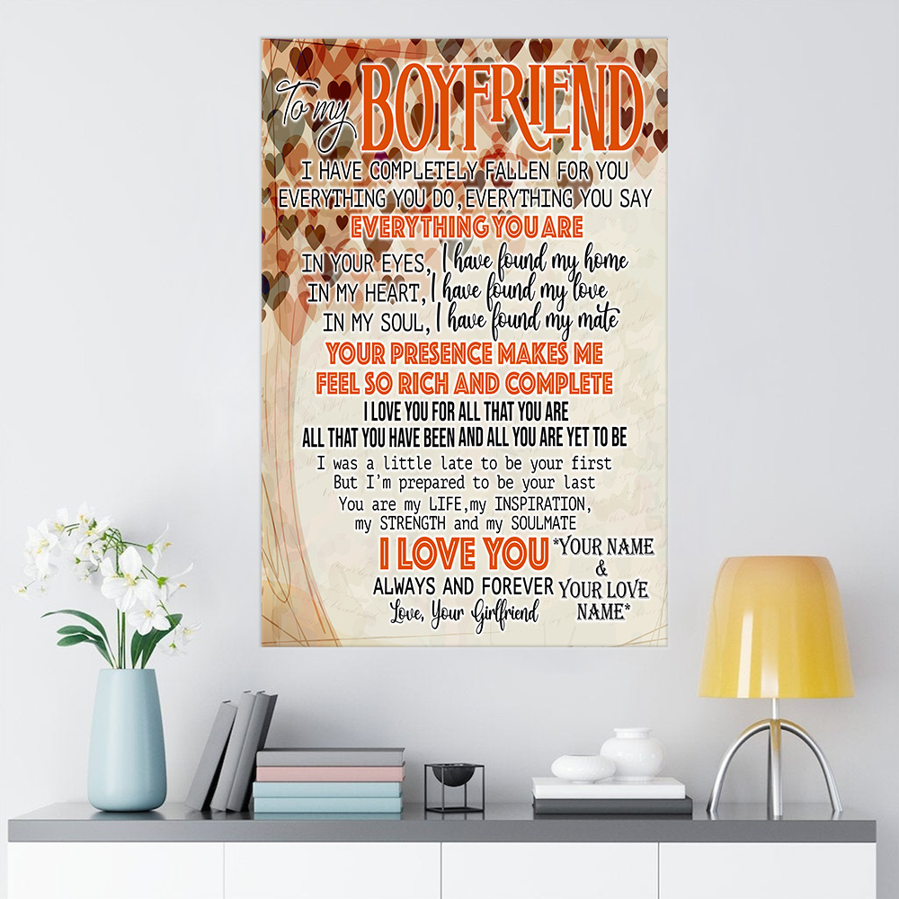 Personalized Lovely Wall Art Poster To My Boyfriend I Love You For All Pattern 2 Prints Decoracion Wall Art Picture Living Room Wall
