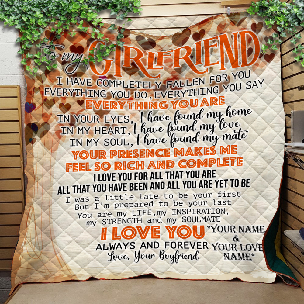Personalized Lovely Quilt Throw Blanket To My Girlfriend I Love You For All Pattern 2 Lightweight Super Soft Cozy For Decorative Couch Sofa Bed