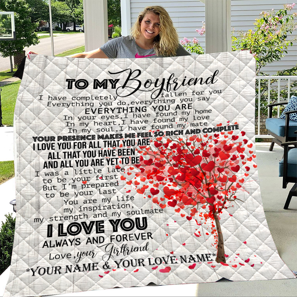 Personalized Lovely Quilt Throw Blanket To My Boyfriend I Love You For All Pattern 1 Lightweight Super Soft Cozy For Decorative Couch Sofa Bed