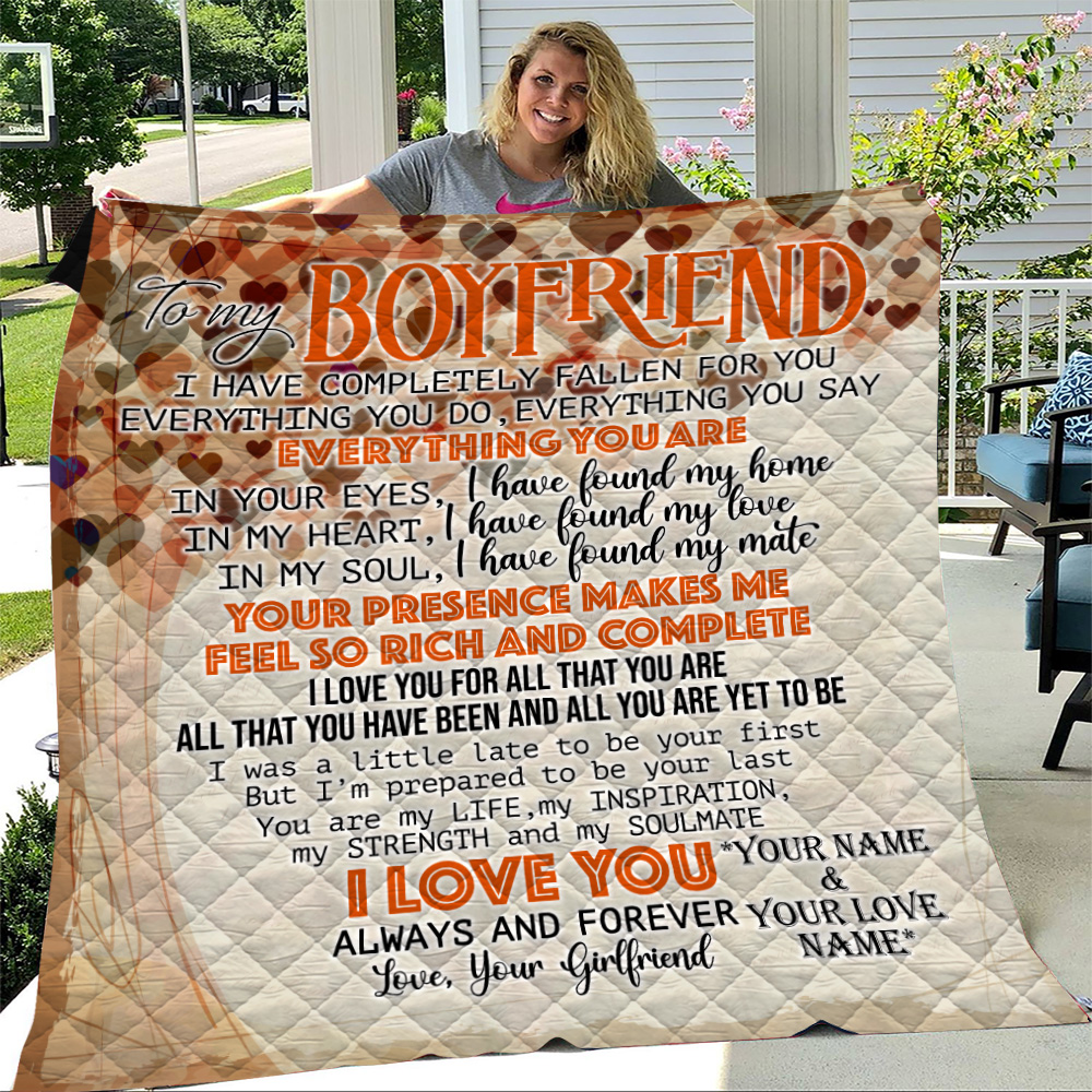 Personalized Lovely Quilt Throw Blanket To My Boyfriend I Love You For All Pattern 2 Lightweight Super Soft Cozy For Decorative Couch Sofa Bed