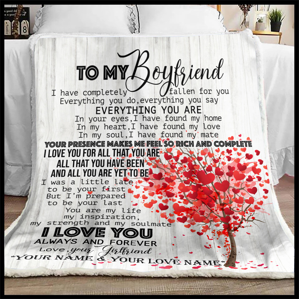 Personalized Lovely Fleece Throw Blanket To My Boyfriend I Love You For All Pattern 1 Lightweight Super Soft Cozy For Decorative Couch Sofa Bed
