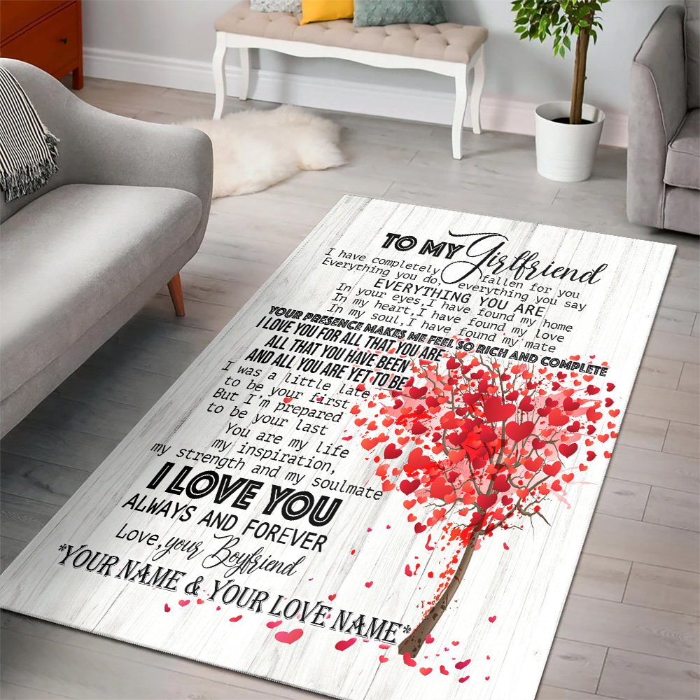 Personalized Lovely To My Girlfriend I Love You For All Pattern 1 Vintage Area Rug Anti-Skid Floor Carpet For Living Room Dinning Room Bedroom Office