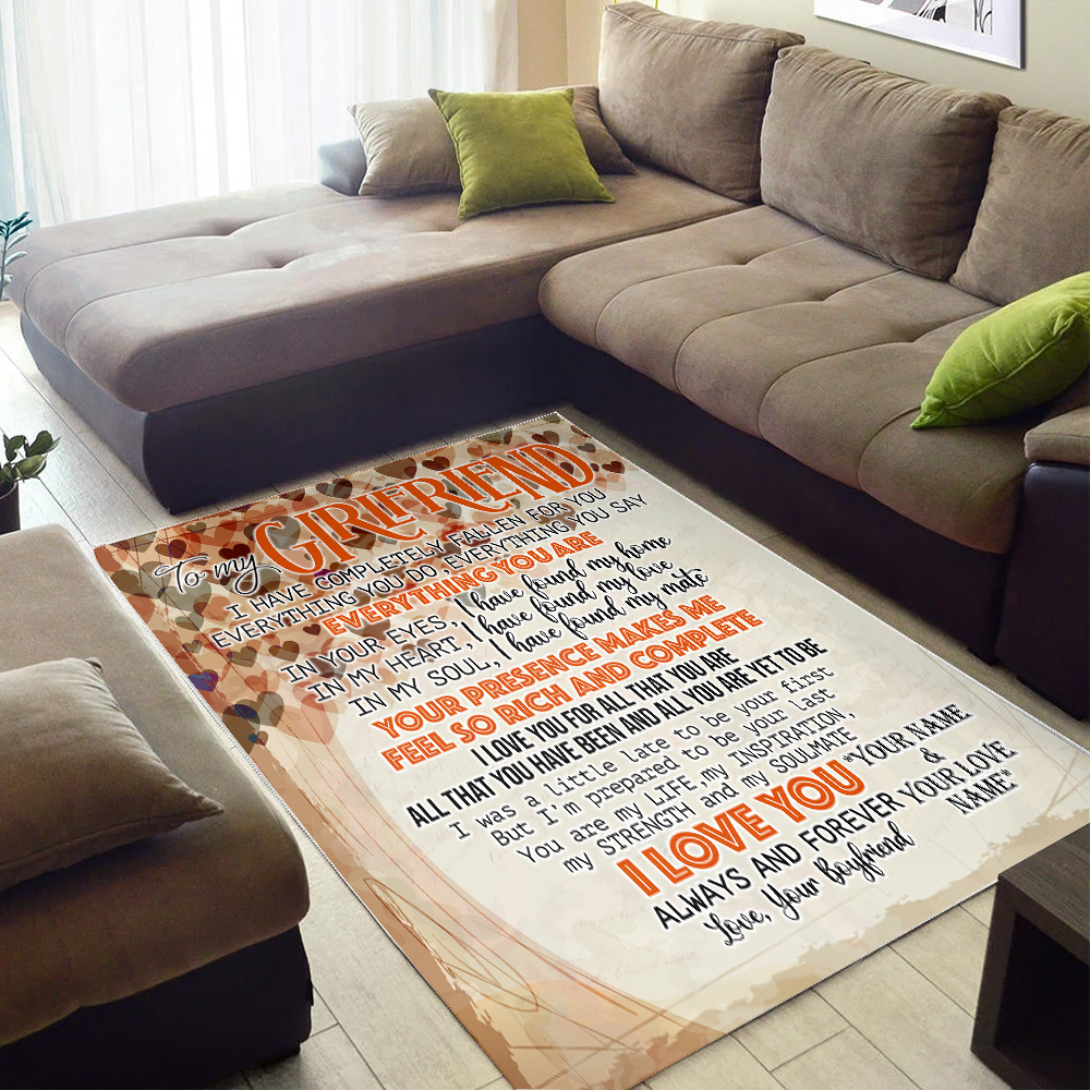 Personalized Lovely To My Girlfriend I Love You For All Pattern 2 Vintage Area Rug Anti-Skid Floor Carpet For Living Room Dinning Room Bedroom Office