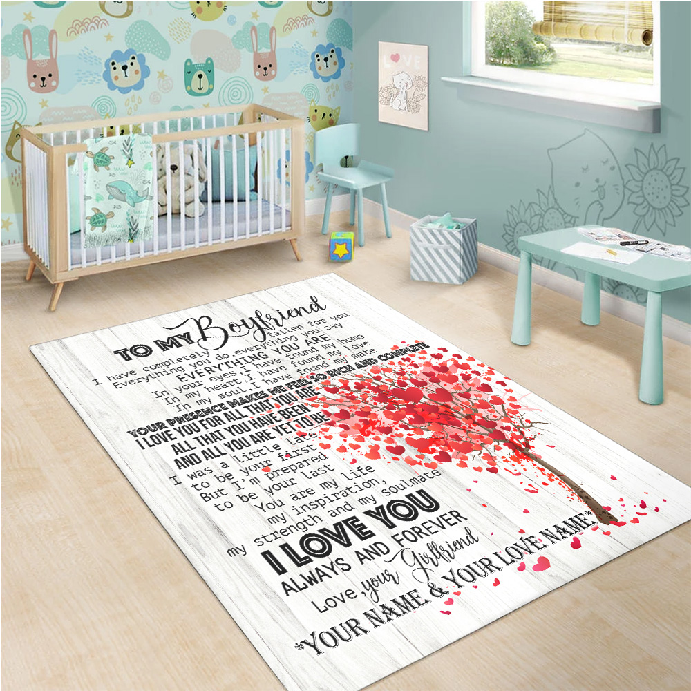 Personalized Lovely To My Boyfriend I Love You For All Pattern 1 Vintage Area Rug Anti-Skid Floor Carpet For Living Room Dinning Room Bedroom Office