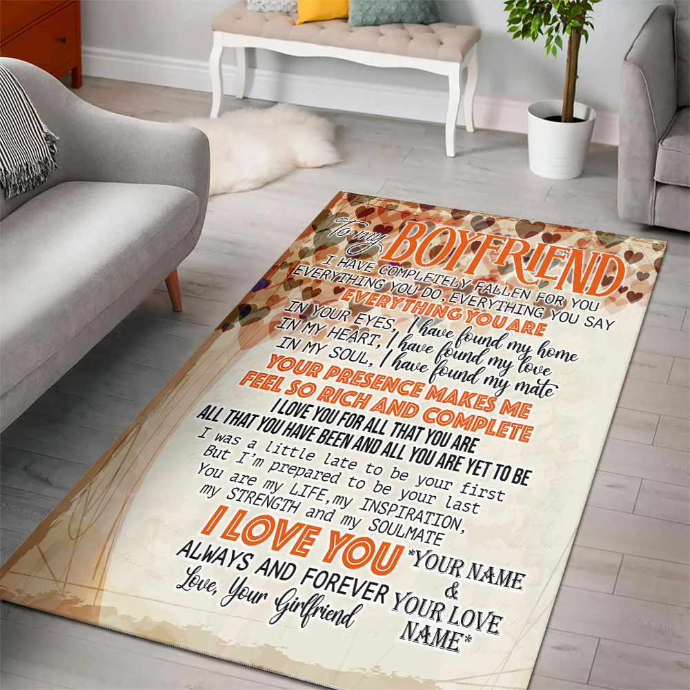 Personalized Lovely To My Boyfriend I Love You For All Pattern 2 Vintage Area Rug Anti-Skid Floor Carpet For Living Room Dinning Room Bedroom Office