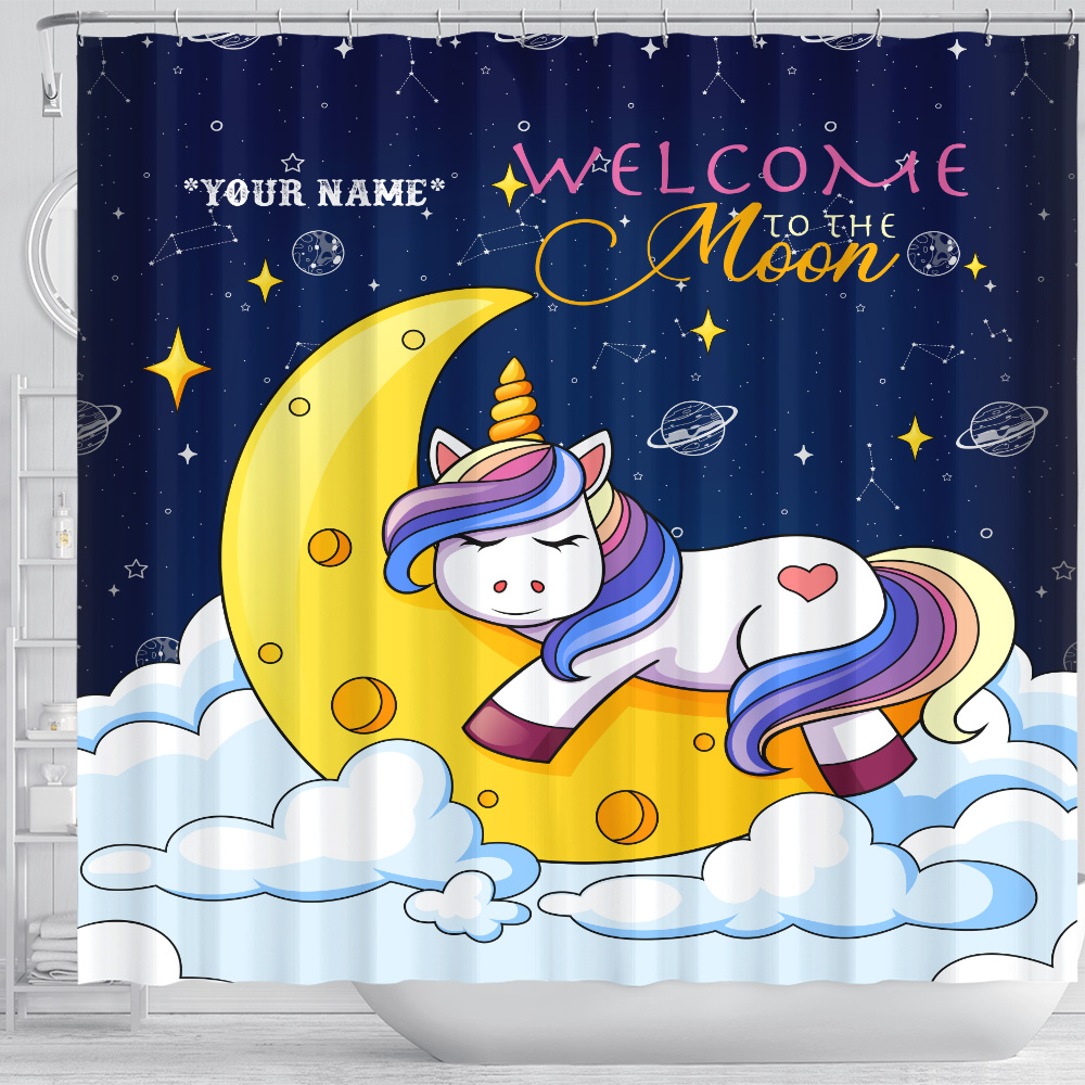Personalized Shower Curtain 71 X 71 Inch Unicorn Welcome To The Moon Pattern 2 Set 12 Hooks Decorative Bath Modern Bathroom Accessories Machine Washable