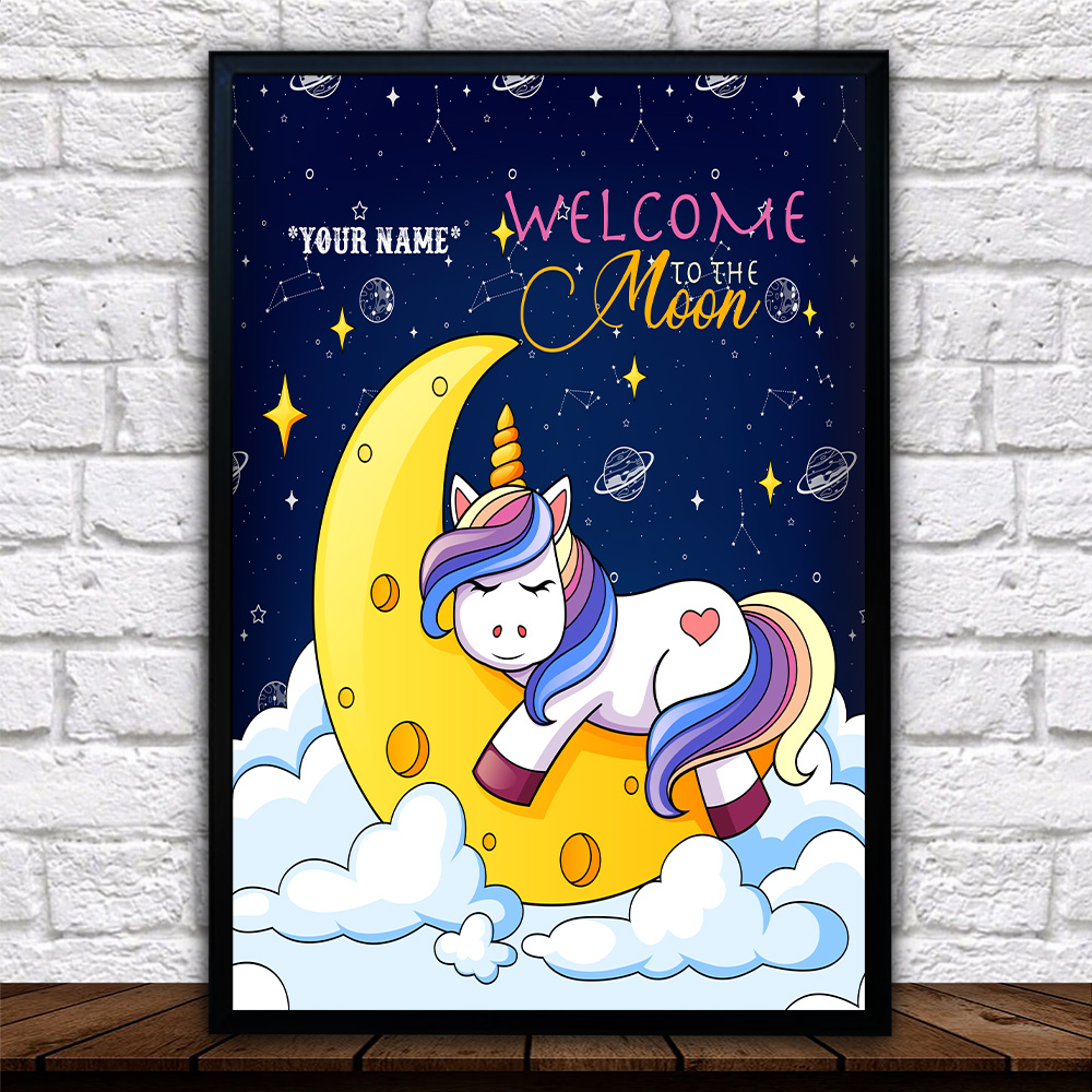 Personalized Wall Art Poster Canvas 1 Panel Unicorn Welcome To The Moon Pattern 2 Great Idea For Living Home Decorations Birthday Christmas Aniversary