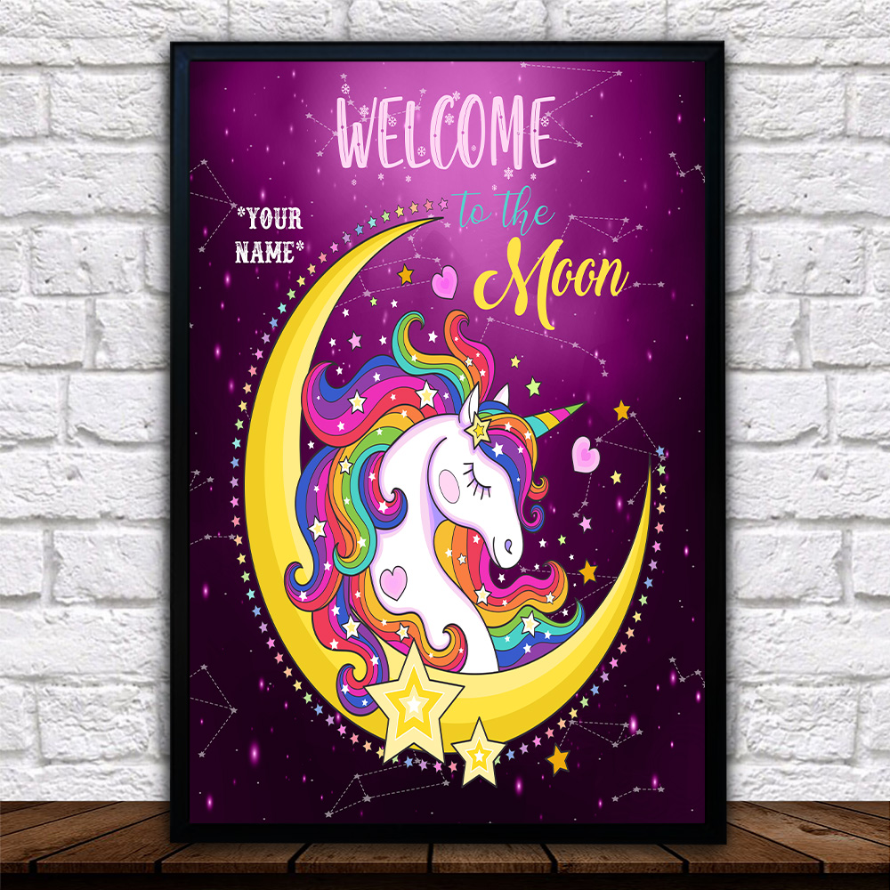 Personalized Wall Art Poster Canvas 1 Panel Unicorn Welcome To The Moon Pattern 1 Great Idea For Living Home Decorations Birthday Christmas Aniversary