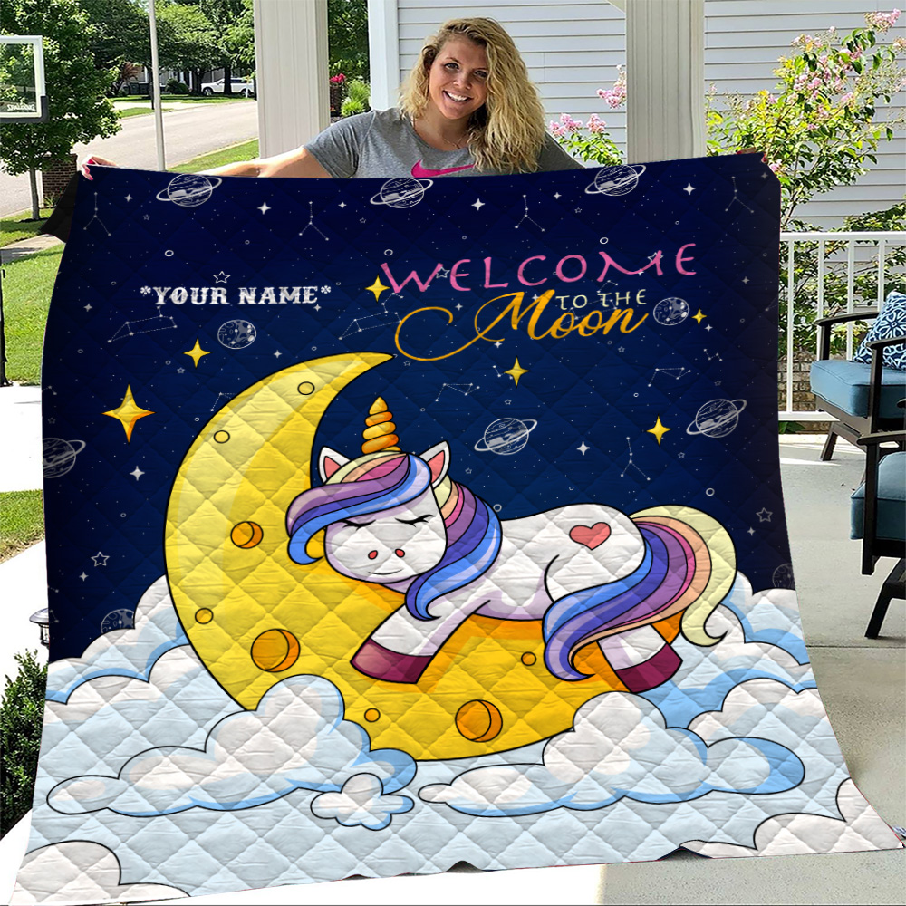 Personalized Quilt Throw Blanket Unicorn Welcome To The Moon Pattern 2 Lightweight Super Soft Cozy For Decorative Couch Sofa Bed